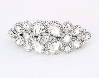 bridal barrette rhinestone wedding hair clip bridal hair piece silver rhinestone bridal hair