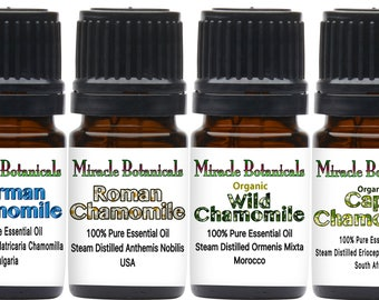 Miracle Botanicals Chamomile Essential Oil Sampler - German Chamomile, Roman Chamomile, Cape Chamomile, and Wild Chamomile..Free US Shipping