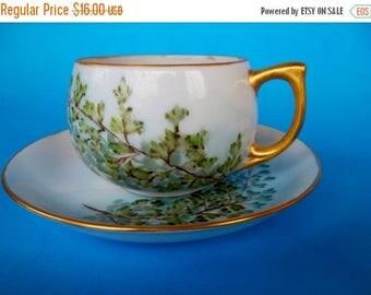 ON SALE Vintage Porcelain Hand Painted Japan Leaf Design Cup and Saucer 1940s