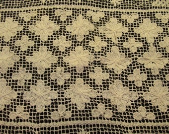 """Vintage crochet tablecloth-beautiful old tablecloth-large white antique crochet tablecloth-rectangle tablecloth 78"""" x 58"""" -crochet flowers"""