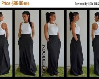ON SALE Spring long skirt / Maxi skirt / High waist maxi skirt / Black cotton long skirt