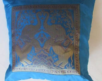 "Indian Cushion Cover 2 Elephants Design Turquoise Colour 16"" x 16"" Bohemian Pillow Case Meditation Yogi Hippie Free UK Shipping"