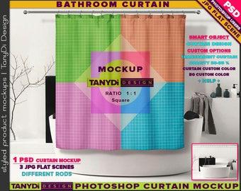 Bathroom Square Shower Curtain | Photoshop Curtain Mockup BC-M1-4 | Modern bathtub bathroom | Smart Object Custom colors