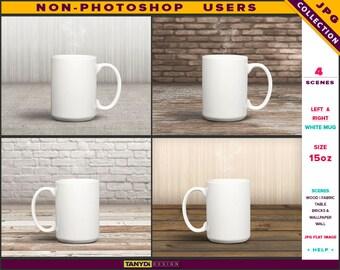 15oz White Coffee Mug | Styled JPG Scenes 15-C3 | Mug on Studio Table | Wood Fabric | Living room interior | Non-Photoshop