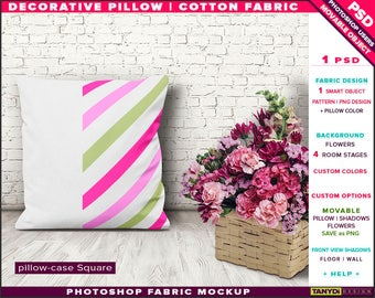 Square Decorative Pillow Cotton Fabric | Photoshop Fabric Mockup M5-S-1 | Cushion on Wooden floor | Flowers | Smart Object Custom colors