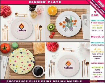White Dinner Plate | Photoshop Print Mockup P3-2 | Movable plate | Breakfast Dinner Table | Cutlery Fruits | Smart object Custom color