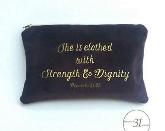 Velvet makeup bag/proverbs31woman