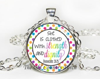 Proverbs 31:25 -Glass Pendant Necklace/Bible Verse/Scripture/Christian Gift/Religious Jewelry/Faith Necklace/Baptism Gift/Bible Chapter