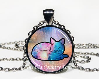 Cosmic Boho Zen Fox - Glass Pendant Necklace with Chain - Mother's Day Gift, Friend Gift, birthday gift, Easter Gift,