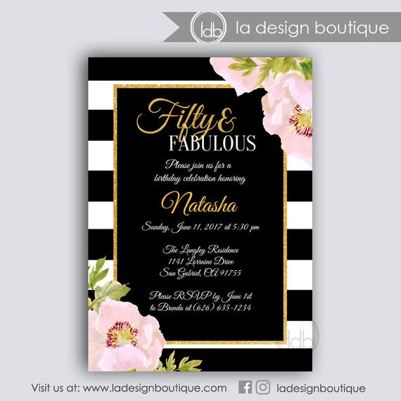 50 and Fabulous Birthday Invitation 50 and Fabulous Invitation 50