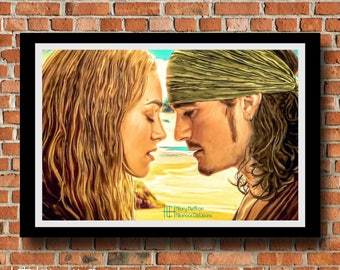 "Will & Elizabeth ""Reunited"" Digital Painting Print, Pirates of the Caribbean"