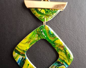 """Double pendant polymerclay necklace """"Makeba"""" green and yellow"""