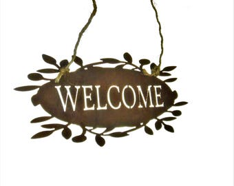 Rustic WELCOME sign, outdoor welcome sign, garden gift, gift for her, rustic welcome hanger, entryway welcome, door hanger welcome