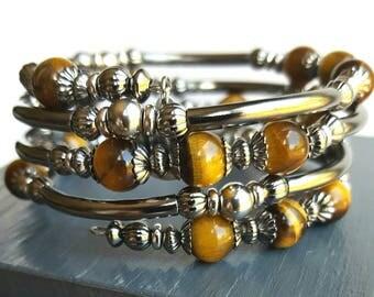 Tiger Eye Memory Wire Wap Bracelet