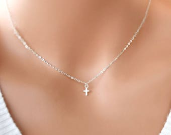 Very Tiny Sterling Silver Cross necklace, delicate cross jewelry, everyday wear, small and shiny cross , mothers day gift for her mom sister