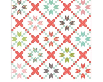 """SALE!! Cross Stitch Quilt Pattern in Flower Mill by Corey Yoder for Moda- Finished Size 80"""" x 80"""""""