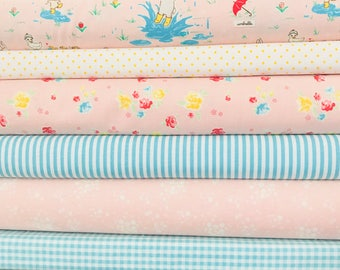 Fat Quarter Bundle Bunnies and Blossoms by Lauren Nash with Riley Blake Basics- 6 Fabrics