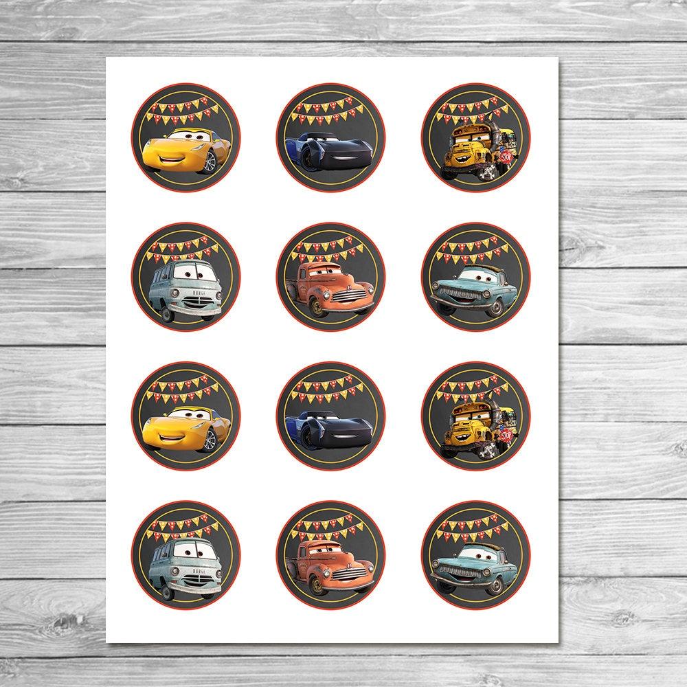 Disney Cars 3 Cupcake Toppers Chalkboard