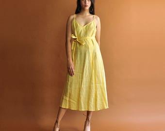 Minimal Belted Dress, Ramie Sun Dress, Vintage Benetton Dress, Sleeveless Dress, 90s Minimal Midi Dress, Mid Length Dress, A-Line Dress