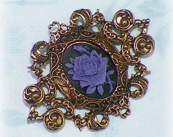 Victorian Brooch Purple Pin Gothic Rose Cameo Black Vintage Style Steampunk Antique Gold Style
