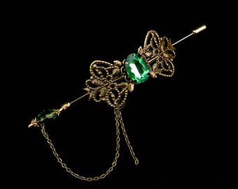 Shawl Pin Gold Brooch Victorian Steampunk Green Vintage Style Scarf Pin Hair Slide Edwardian Filigree Antique Inspired Stick