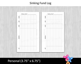 Personal: Sinking Fund Log • Budget Binder Printable Page Insert for Personal sized Disc / Ring Bound Planner • INSTANT DOWNLOAD
