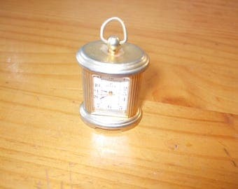 Miniature brass carriage clock with handle - Pelex