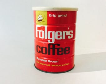 Vintage Folgers Coffee Can Bright Red Folger's 16oz Tin with Plastic Lid Est 1963 1 lb Mountain Grown Kitchen Restaurant Decor Coffee Lovers