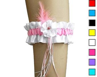 White and pink bridal garter, garter in wedding, vintage  style, wedding lingerie, handmade white garter plus size, satin bride garter 0230