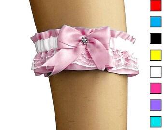 Pink and white bridal garter, lace garter wedding, vintage style, wedding lingerie, handmade plus size garter, satin bride garter  0085-01