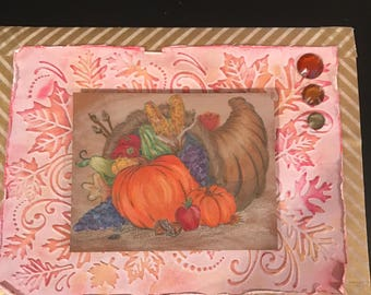 "6 1/2""x5"" autumn greeting card with coordinating interior"