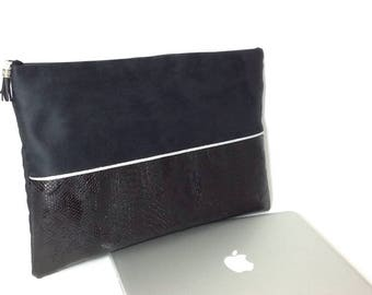 Laptop Mac computer charger/Holster pocket book cover with zippered pocket / Black Suede, silver Python, edging leatherette case