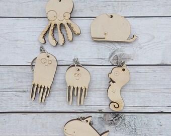 Small keychains-Lasercut marine animals