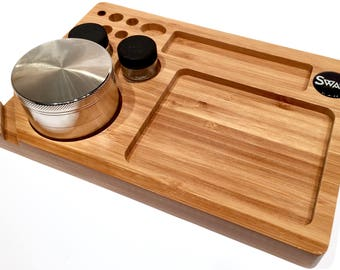 Swagstr Bamboo Rolling Tray Natural Wood 6 x 9 High Quality with Natural Finish Swag