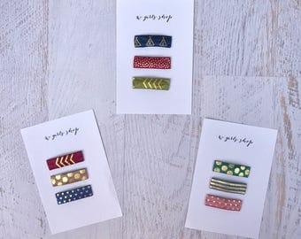 Fall Snap Clips | Teepee Hearts Stripes Polka Dots Tribal | Olive Navy Mauve Burgundy | Hair Clips | Baby Hair Clips | Toddler Hair Clips