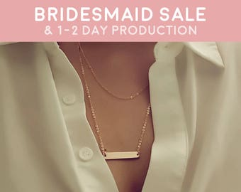 Rose Gold Layered Necklace Gold Necklace feminist Necklace Layering necklace friendship set - 3LYD