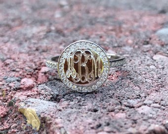 Monogram Ring with Classic Cubic Zirconia Border in Sterling Silver, Engraved CZ Ring