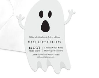 Ghost Birthday Party Invitation / Scary Themed Birthday Party Invitation / Horror Party Invitation / Haunted House Party Invitation