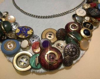Denim Vintage buttons necklace