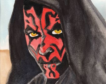 Darth Maul custom framed original watercolor painting