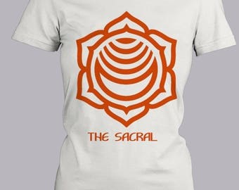 Sacral Chakra Trendy Fitted White & Orange Shirt, Short Sleeve Fitted Tee, Cute Graphic Tee, Metaphysical,  Fitted T-Shirt, Screen-Printed