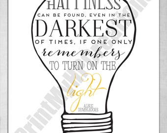 "Harry Potter Dumbledore Happiness Quote Instant Download PDF Printable Sign - 8"" x 10"""
