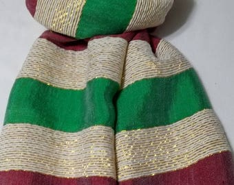 SUMMER BLOWOUT SALE...thru 07/15/17!...Women's 100% Handwoven Ethiopian Cotton Scarf in Red/White with Gold Accents and Bright Green Stripes