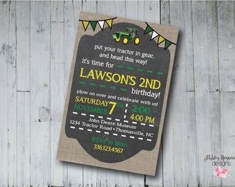 Tractor Birthday Invitation, John Deere Birthday Invitation, Digital Invitation, Printable Invitation