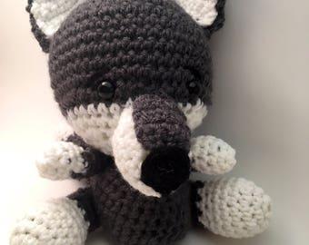 Wolf. Stuffed wolf. Stuffed animal wolf, baby stuffy. Baby gift.