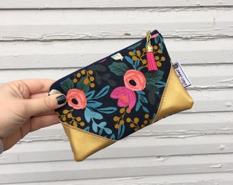Navy Blue Rifle Paper Co Floral Mini Tassel Clutch