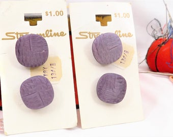 """Deep Lavender Buttons 3/4"""" on Cards, 4 Shank Buttons for Sewing and Projects, Streamline Buttons"""