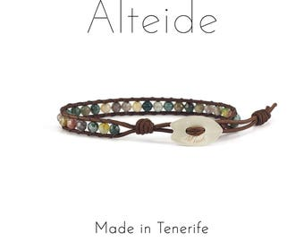 Bracelet Masca 1 wave - Alteide - made in Tenerife - surf inspired - 925 Silver - man woman - Indian Agate