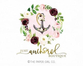 anchor logo nautical logo flower wreath logo premade logo photography logo boutique logo event planner logo wedding logo watercolor logo