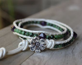 Amethyst and Ruby Zoisite Gemstone Double Wrap Leather Bracelet, Silver Flower Bracelet, Hippie Bracelet, Boho Bracelet, Bohemian Style